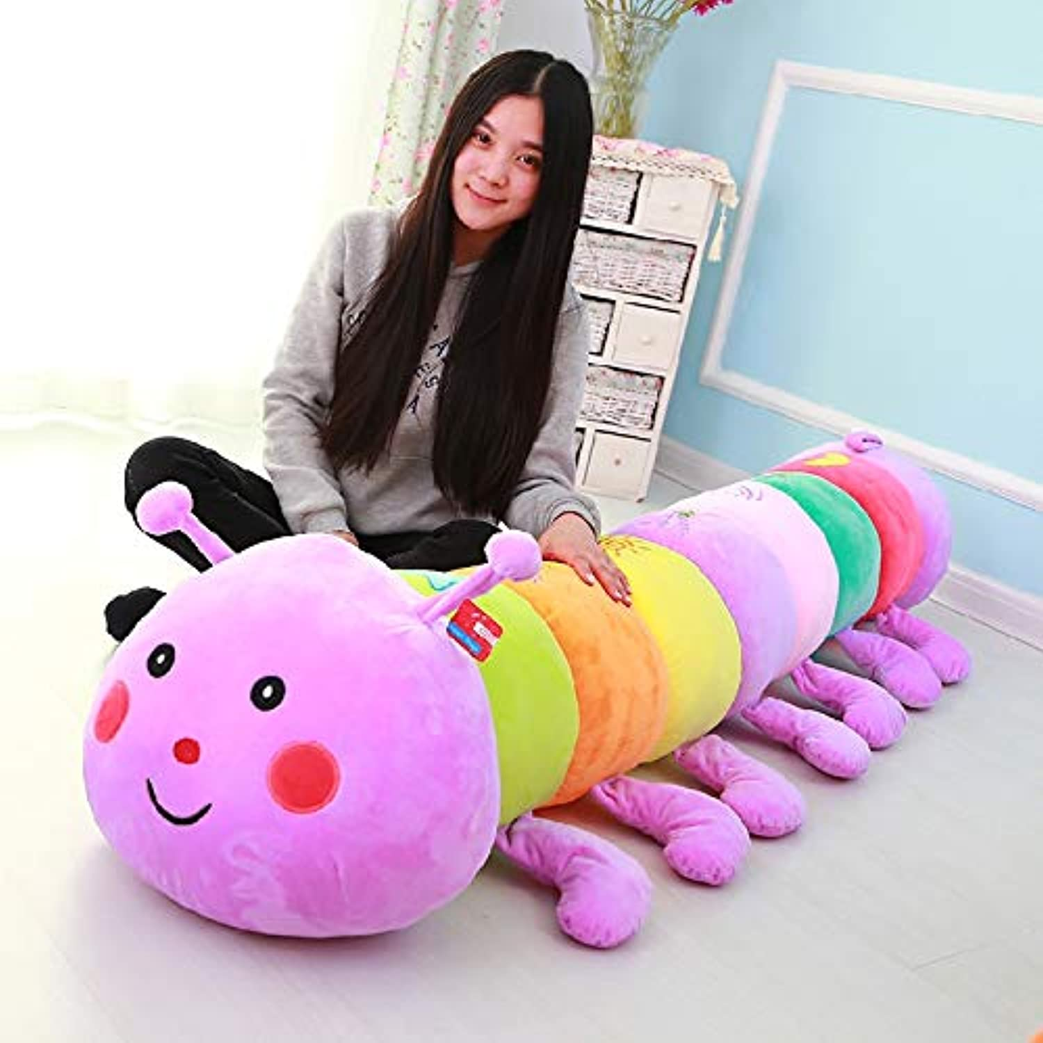 DONGER Caterpillar Toy Oversized Bug Doll Doll Cute Pillow Creative Tanabata Birthday Gift, Lavender Purple, 90 Cm