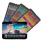 Zenacolor 72 Aquarell Buntstifte, Nummeriert, mit Pinsel in Metallbox Aquarellmalerei-Set - 72 wasserlösliche Bunststifte, Einzigartig und Verschieden - Malerei für Erwachsene und Künstler