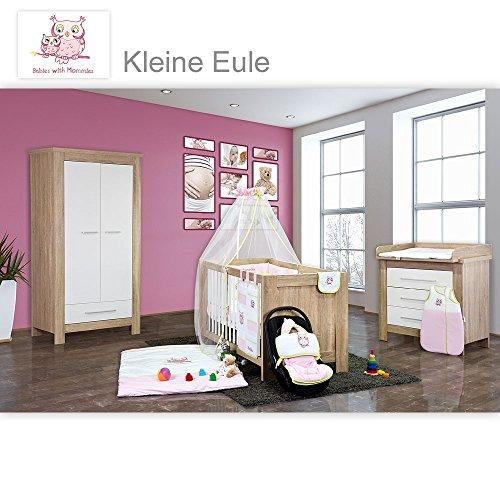 Babyzimmer Enni 20-tlg. in der Farbe Sonoma/Weiß mit 2 türigem Kl. + Textilien Kleine Eule, Beige