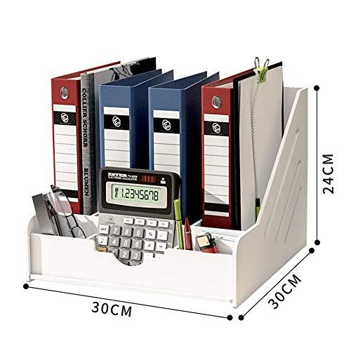 NFGHK Aktenregal Schreibtisch Organizer Rack, Schreibtisch Lagerung Büromaterial A4 Bücherregal Rahmen Magazin Regale Aktenbox Kreatives Bücherregal