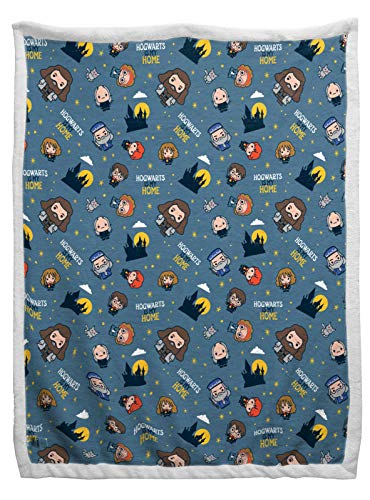 Jay Franco Harry Potter Schoolmates Sherpa Back Blanket - Measures 60 x 90 inches, Kids Bedding Features Ron, Hermione, & Hagrid - Fade Resistant Super Soft (Official Harry Potter Product)