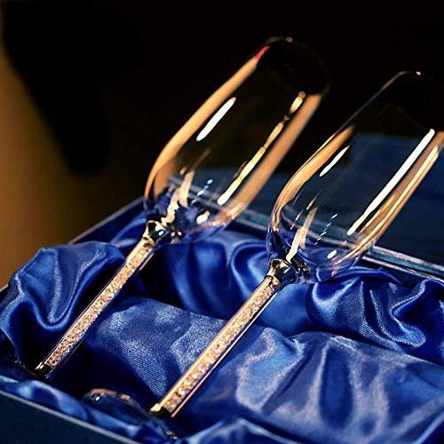 Glaswarenbecherhochzeit Weinglas Champagner Glas Kristall 250Ml 2 Stück Luxus Party Toast Glas Becher Kristall Strass Design H1005250Ml
