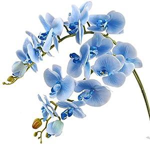 Famibay Orquidea Ramo Artificial Flores Phalaenopsis Flores Boda Hogar Decoración Azul
