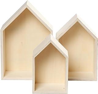 3-częściowy zestaw drewnianych pudełek, pudełko regałowe, kształt domu, dekoracja ścienna, drewno surowe.