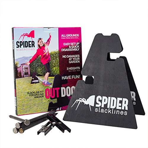 SPIDER SLACKLINE SOS01 - Slacklines Outdoor Einsteigerset - Zwei Befestigungsblöcke Höhenverstellbar 30 or 50 or 70 cm, Kann Nicht an Bäumen Befestigt Werden - Made in Italien - Maximale Haftung