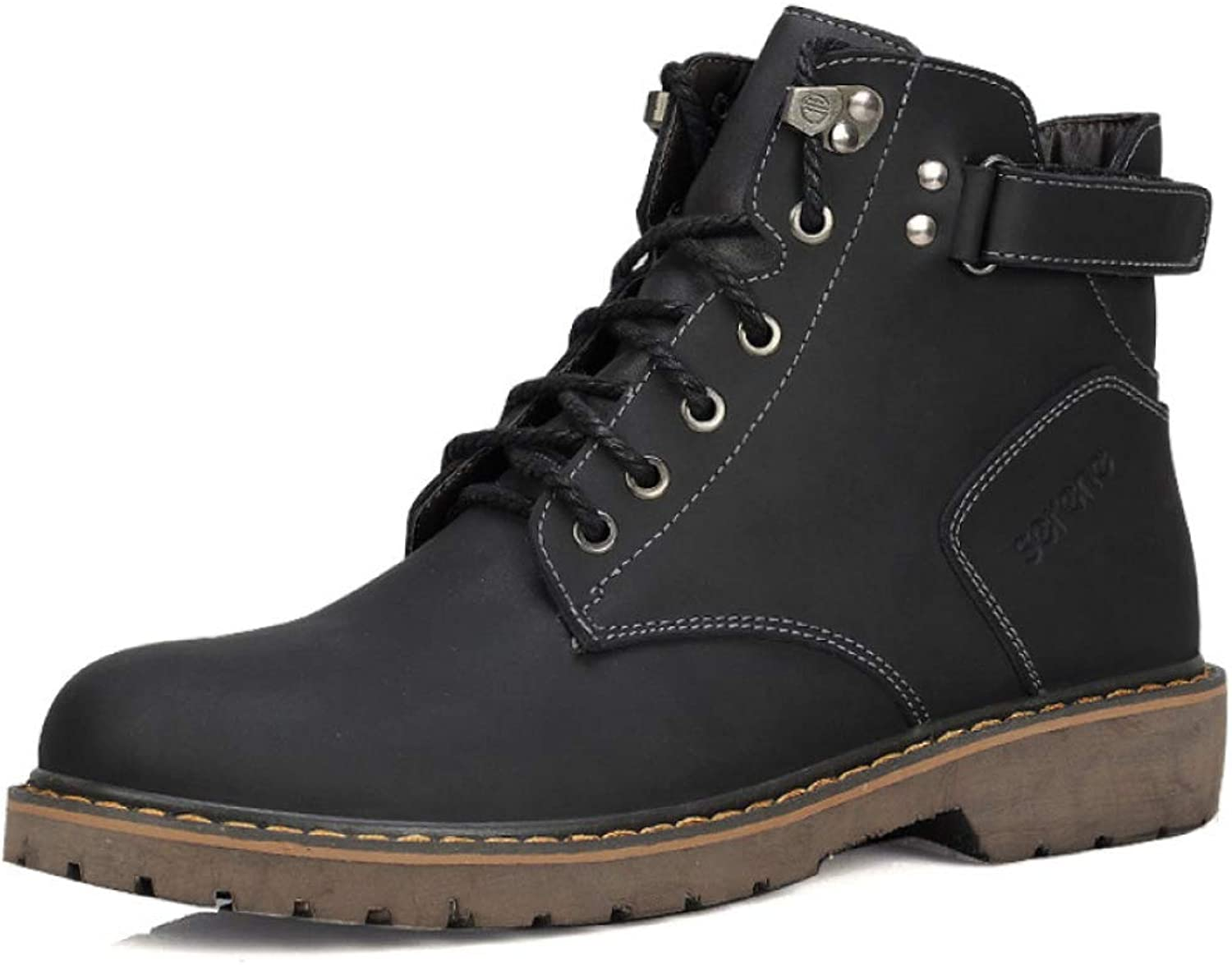 DSFGHE Men's Martin Boots Ankle Chukka Boots Army Tactics Leather Boots Snow Boots Casual High Help Work Boots Lace-up shoes