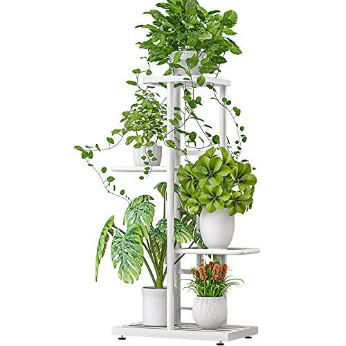 EstanteríA de Metal Para Plantas con 5 Estantes, Escalera Para Flores EstanteríA Para Plantas con Acolchado Para Los Pies Para Interior Exterior para Balcón Jardín Salón, 43,5 X 22 X 80 cm (Blanco)