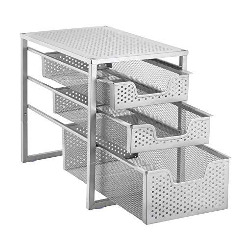Simple Trending 3-Tier Under Sink Cabinet Organizer with Sliding Storage Drawer, Desktop Organizer for Kitchen Bathroom Office, Stackbale, Silver