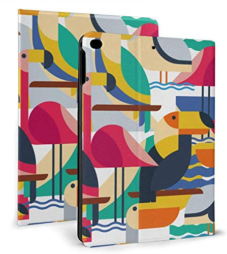 Art Toucan Cockatoo Parrot Flamingo PU Leather Smart Case Auto Sleep/Wake Feature for iPad Air 1/2 9.7' Case-Art Toucan Cockatoo Parrot Flamingo-iPad air1/2 9.7'