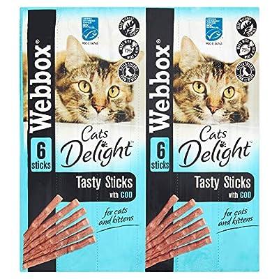 Webbox Cats Delight Tasty Sticks with Cod, 6 x 30g