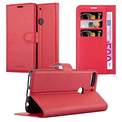 Cadorabo Hülle für HTC Desire 12 Plus - Hülle in Karmin ROT – Handyhülle mit Kartenfach & Standfunktion - Hülle Cover Schutzhülle Etui Tasche Book Klapp Style