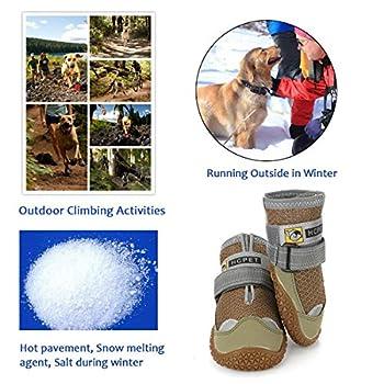 Нсрet Bottes pour Chien de Protection, Lot de 4 étanche Chaussures de Chien pour Chiens de Taille Moyenne et Grande - Kaki (1#)