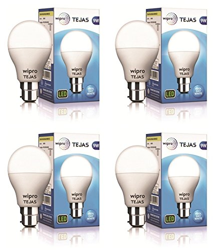 Wipro 9-Watt LED bulb Base B-22 (Pack of 4, White)