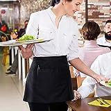 InnoGear 3 Stücke Vorbinder Schürze, Taillen Schürze mit 3 Taschen, Kellnerschürze Bistroschürze Kochschürze Backschürze für Restaurant, Bar (Schwarz) - 6