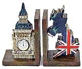 Bellaa 26348 Decorative Bookends Big Ben Clock Tower UK Flag Vintage Unique British Patriots Gifts Bookshelves Bibliography Home Decor Heavy