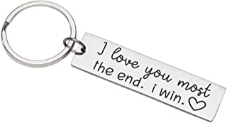 Husband Wife Gifts Keychain for Anniversary Wedding Birthday from Wifey Hubby I Love You Most The End i Win Valentine Day Gifts for Him Her Girlfriend Boyfriend Fiance Couple