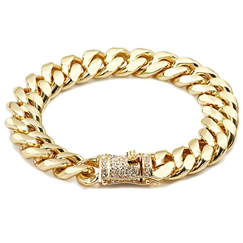 Chapado en oro 14kt Diamond Cut Link cubano cadena pulseras 14mm warrantied hecha en Estados Unidos. CZ