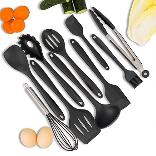 BSW 10Pcs Ustensiles de cuisine en silicone, outils résistant à la chaleur Outils pour cuisiner des gadgets de cuisson Comprend fourche à pâtes, cuillère, fourrure, cuillère à fente, cuillère, tourneuse, grande spatule, petite spatule, brosse à déguster, fouet à la cuisine à la maison Silicone Kitchen Utensils (Noir)Cadeau Familial