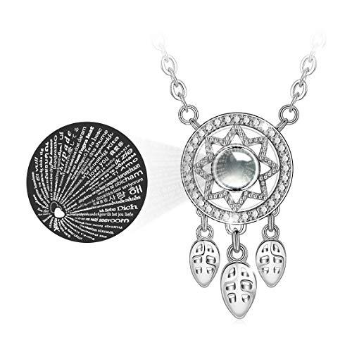 EUDORA 100 Sprachen Ich liebe dich Projektionskette für Frauen, S925 Sterling Silber Dreamcatcher Halskette Speicher Schlüsselbein Halskette Kreative Anhänger Geschenk für Frauen Mutter Tochter