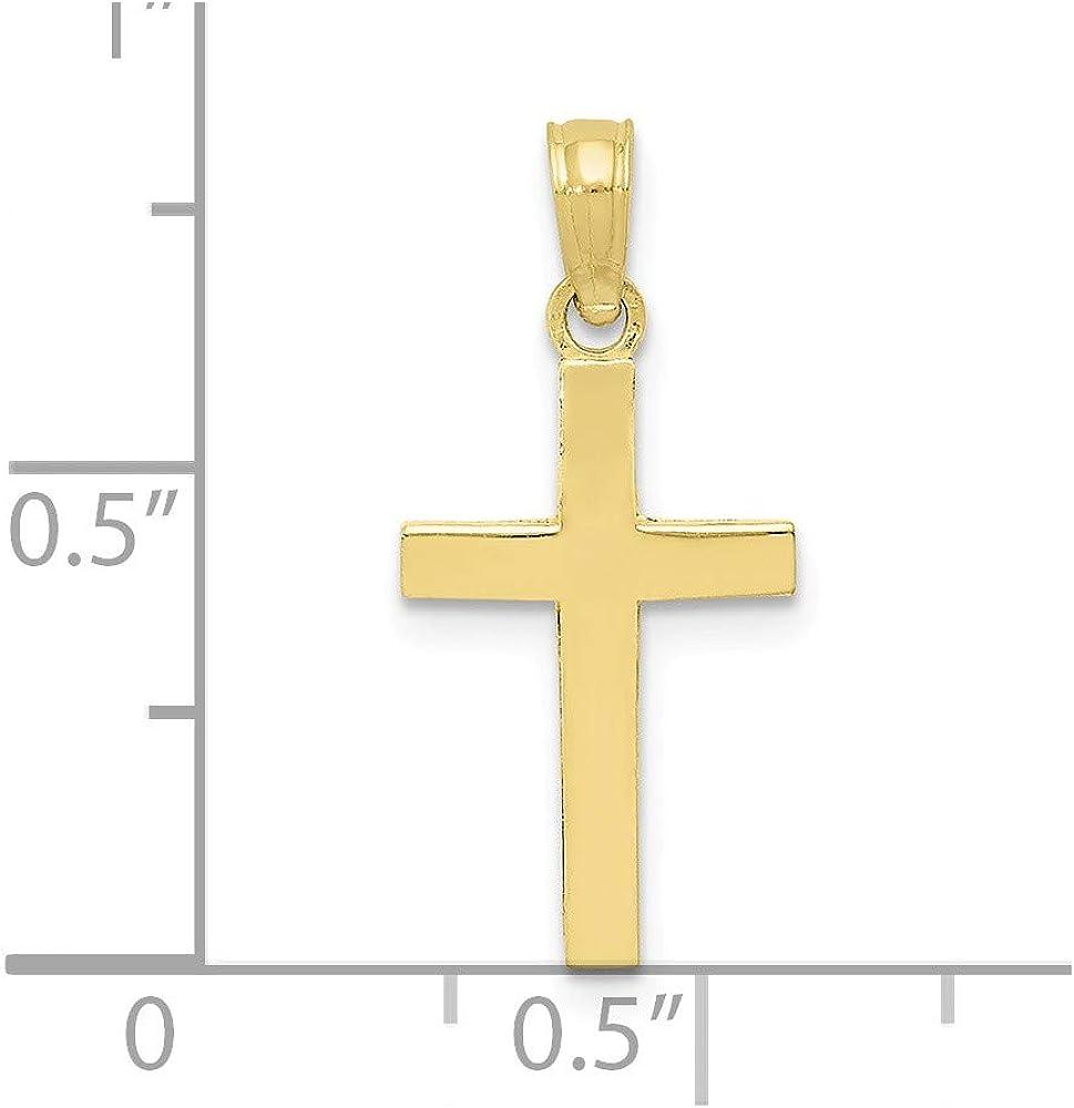 Solid 10k Yellow Gold Cross Pendant Charm