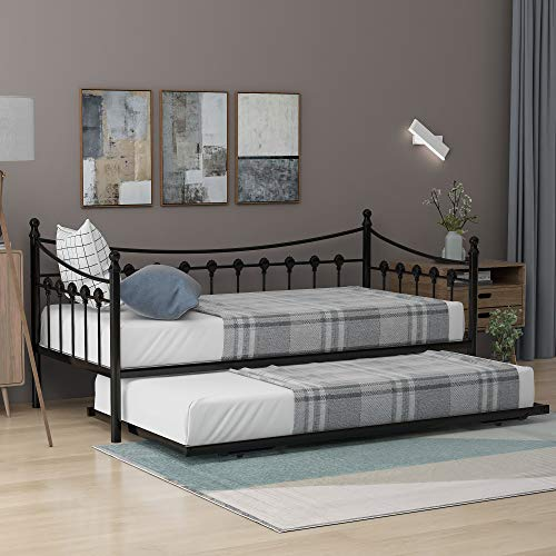 Fairylove Metal Bed Frame 3FT Metal Daybed Guest Bed with Trundle for Guest Room Children Bedroom, Black Sofa bed 2 in 1 Bedroom Furniture Fit (190x90cm) (BLACK)