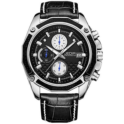JEDIR Herren Chronograph Uhr Schwarz Weiß arabische Ziffern Sport Stil weichen Lederarmband