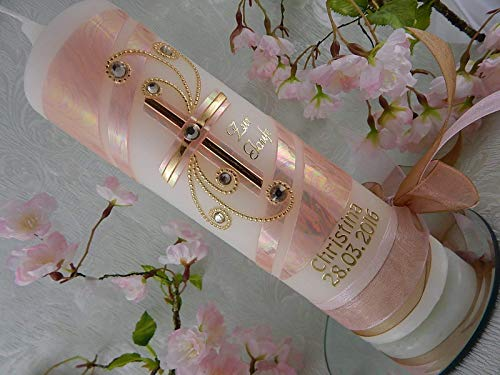 Taufkerze Kreuz rosa gold aus Wachs Taufkerzen christlich für Mädchen 250/70 mm mit Name und Datum