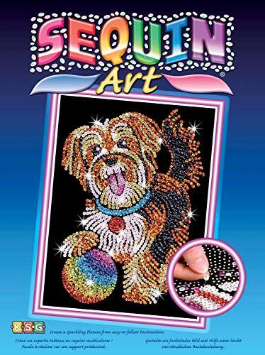 MAMMUT 8041218 - Sequin Art Paillettenbild Hund, Steckbild, Bastelset mit Styropor-Rahmen, samtige Bildvorlage, Pailletten, Steckstiften, Anleitung, für Kinder ab 8 Jahre