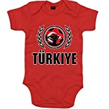 Türkei WM 2018#2 Babystrampler | Fußball | Ay-Yildizlilar | Bodysuit | Babybody | Babyeinteiler | Oeko-TEX ® 100 Standard, Farbe:Rot (Red BZ10);Größe:12-18 Monate
