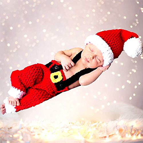 Newborn Baby Photography Props Outfits Santa Claus Baby Outfits Handmade Crochet Knitted Baby Outfits, Christmas Costume for Baby Boy Girl (Christmas Cap Hat and Suspender Trousers)