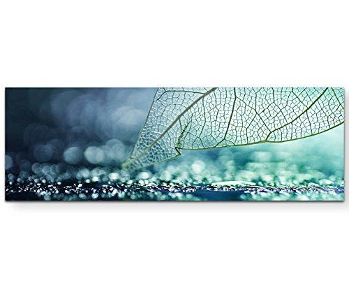 Paul Sinus Art Leinwandbilder | Bilder Leinwand 120x40cm Skelett Blatt - abstrakt