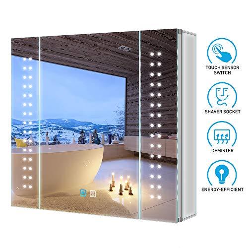 Tokvon Galaxy 65x60cm Spiegelschrank LED Badezimmer Spiegelschrank mit Beleuchtung Wandschrank Licht Aluminium Beschlagfrei Rasier Steckdose Touch