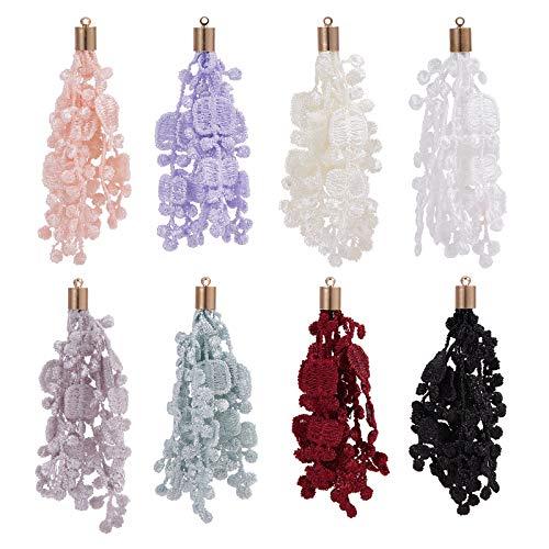 PandaHall 32 borlas de flores de 8 colores de 7,1 cm de seda con borlas de encaje de seda, colgantes grandes para pendientes, joyas, collares, accesorios