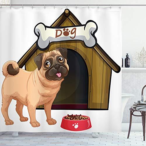ABAKUHAUS Mops Duschvorhang, H& Haus Cartoon-Stil, mit 12 Ringe Set Wasserdicht Stielvoll Modern Farbfest & Schimmel Resistent, 175x200 cm, Blasser Kaffee Sandbraun Rot