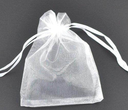 ジュエリーの保存やプレゼントに オーガンジー白無地巾着袋12*9cmサイズ100枚セット