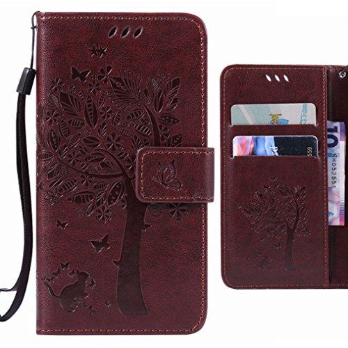 Ougger Handyhülle für LG V10 (H960A, H900, H901, VS990) Tasche, Baum Katze Druck Brieftasche Schale Schutzhülle Leder Weich Magnetisch Stehen Silikon Cover mit Kartenslot (Braun)
