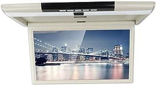 CARAVAN 4K Flip Down Monitor, 15.6 Wide Screen High Resolution Roof Mount Monitor with 1080p HDMI&USB Input, FM&IR Transmitter(Beige),