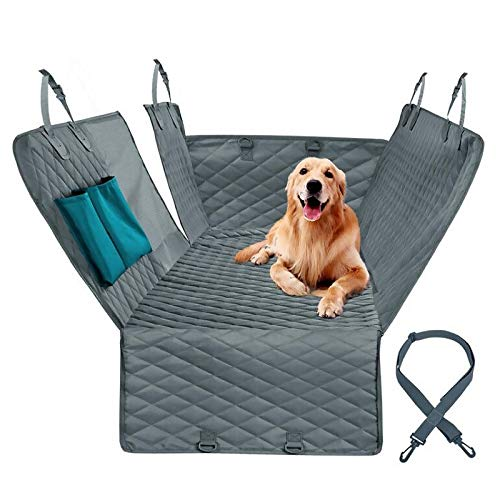 Funda para asiento de coche para perro impermeable antideslizante protector de asiento trasero de coche con anclajes cinturón de seguridad para perro lavable universal hamaca bolsa de almacenamiento