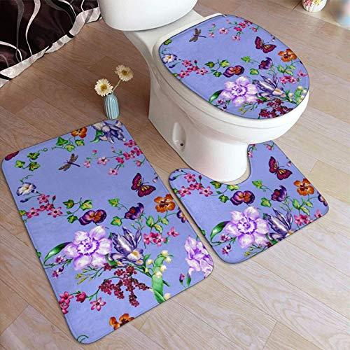 3 Piece Non Slip Pedestal Bath Mat Set,Toilet Lid Cover Mat,Pretty Watercolor Garden Floral,Breathable Memory Foam Bath Mats Soft Water Absorbent Toilet Bathroom Rug