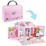 deAO 2-in-1 Puppenhaus Handtasche Tragetasche Spielset mit Mini Custom Doll, Schlafzimmer und...