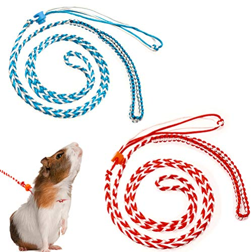 PAWCHIE 2Pcs Small Animal Harness Leash Adjustable Walking Rope for Hamster, Rat, Ferret, Mouse, Squirrels