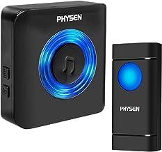 Timbre Inalámbrico para Puerta, PHYSEN Timbre IP55 Impermeable con LED Flash, 5 Volumen Ajustable, 58 Melodías, Alcance a ...