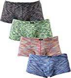 iKingsky Men's Stretch Boxer Briefs Underwear Sexy Low Rise Men Pouch Boxer Shorts (X-Large, 4 Pack)