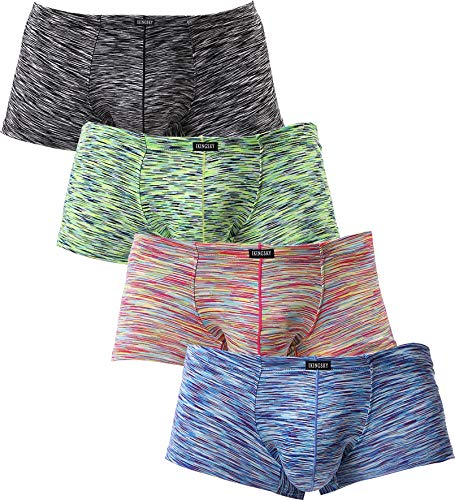 iKingsky Men's Stretch Boxer Briefs Underwear Sexy Low Rise Men Pouch Boxer Shorts (Large, 4 Pack)