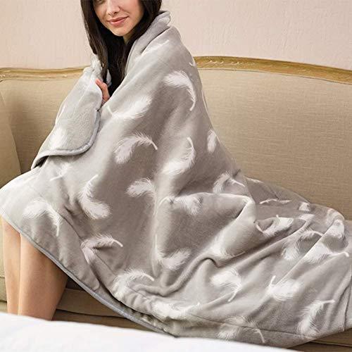 Authda Kuschelheizdecke Waschbar Heizdecken mit Abschaltautomatik Überhitzungsschutz Wärmeunterbett Plüsch Heizdecke fürs Bett/Sofa Wärmedecken (160 * 120cm / Grau)