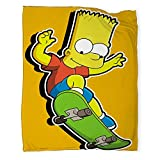 Anyangeight Bart Simpson Plush Blanket XL-Throw 50'x70', Super Soft Reversible Ultra Luxurious Plush Blanket Flannel Blanket for Bed Couch