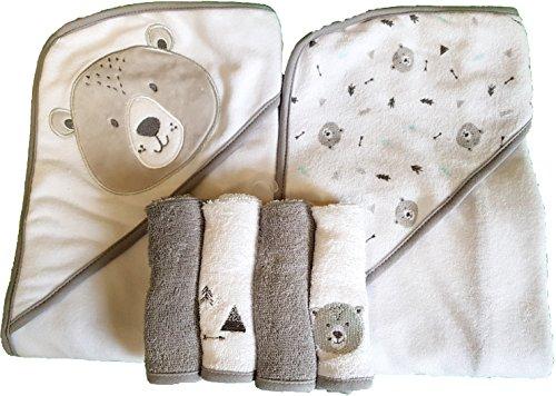 2er Pack Kapuzenbadetuch + 4er Pack Wschtücher Hochwertiges Produkt - Teddybär