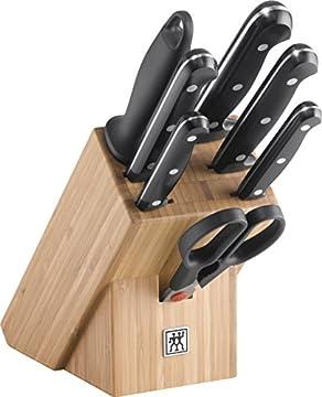 ZWILLING Messerblock, 8-tlg., Bambusblock, Messer aus rostfreiem Spezialstahl/Kuststoff-Griff, TWIN Chef