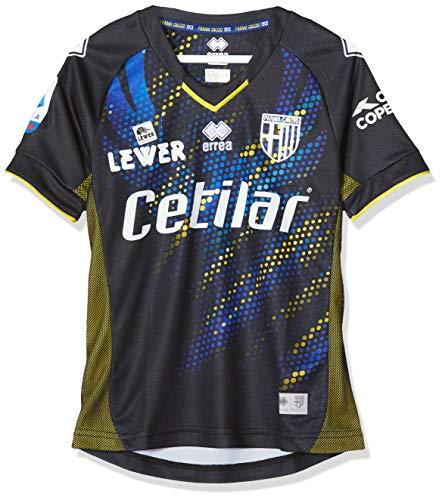 Errea MC Parma Fútbol 3^MG Shop 19/20, Camiseta Deportiva Unisex Niños, Unisex niños, Smoe7C5472990Prf, Nero Giallo/Fluo Azzurro, XXS
