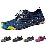Yorgou Chaussures Aquatiques pour Homme Femme Chaussures d'eau Chaussures de Plage Chaussures de Yoga Plongée Surf Piscine Sport Aquatique, Bleu, 42 EU